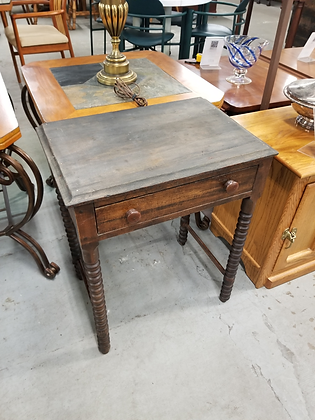Antique Single Drawer Dark Wood Accent Table Stand w/ Carved Legs