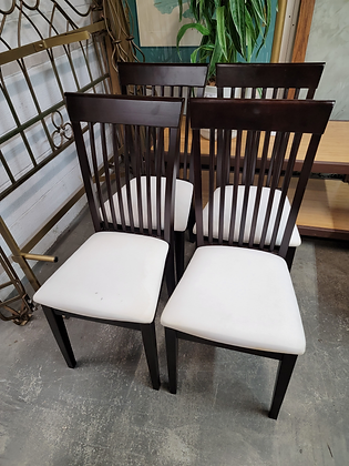 Set of Four Dark Wood Slat Back Dining Chairs with White Seats