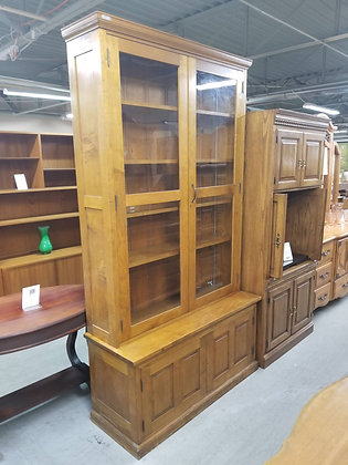Stickley Large Glass Front Wood Bookshelf / Bookcase / Display Cabinet