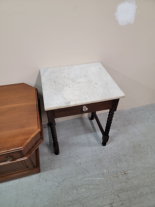 Square Dark Wood Marble Top End Table Accent Table