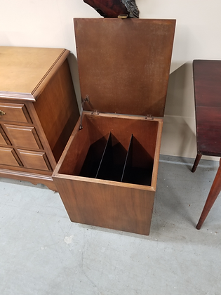 Lift Top Cube Shaped Wood Record Cabinet On Wheels