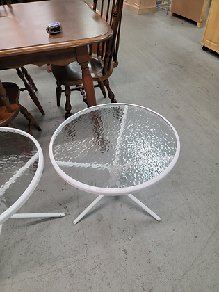 White Round Metal Glass Top Accent Stand (1 of 3)