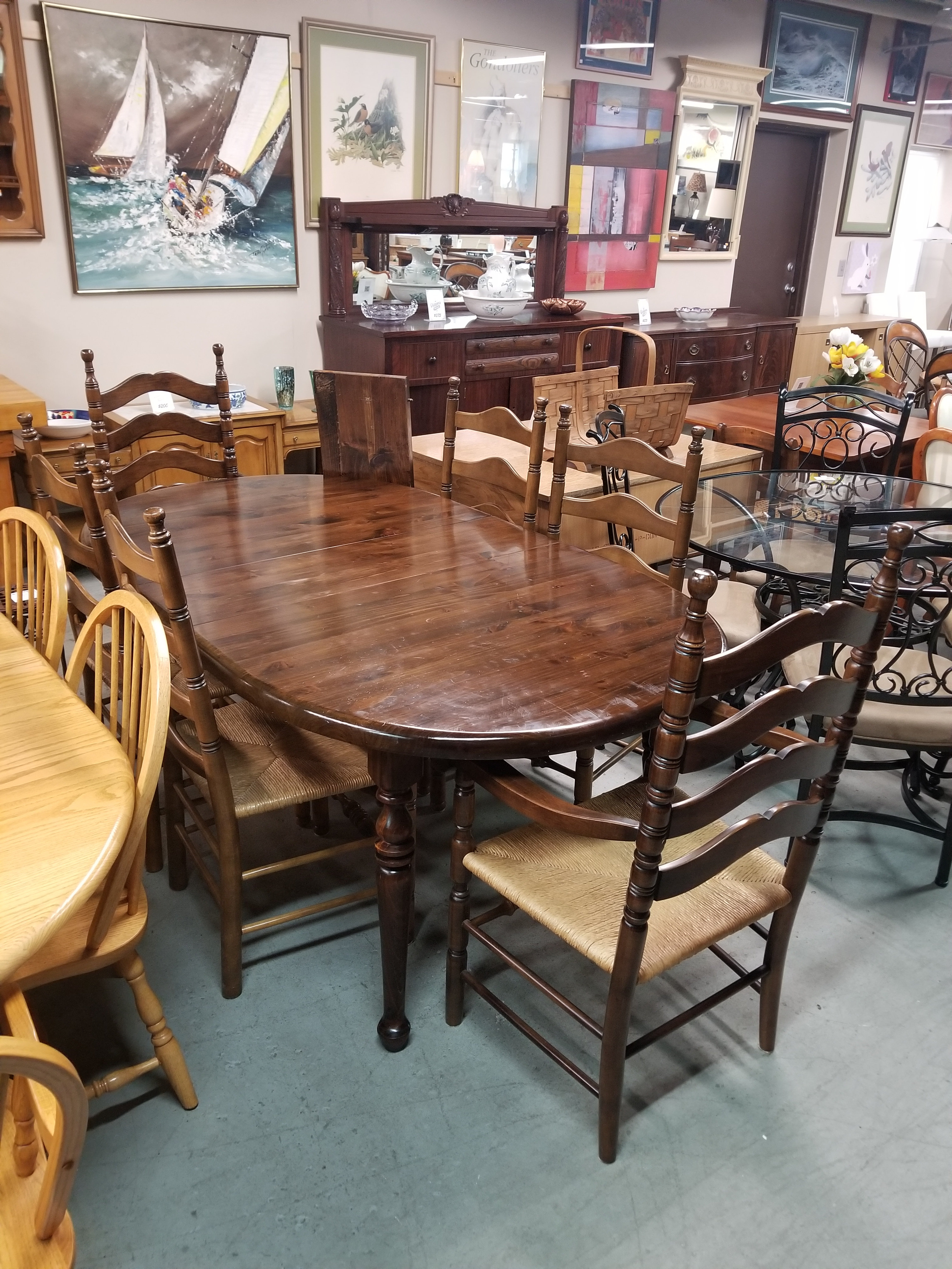 Dark Pine Wood Dining Table W Six Chairs Two Leaves