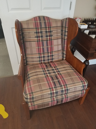 Stickley Plaid Upholstered Wingback Accent Chair