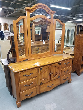 Seven Drawer Country Wide Pine Wood Dresser w/ Trifold Mirror