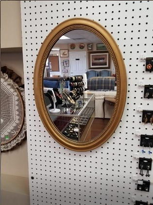 Oval Shaped Wall Mirror with Gold Wood Frame #M56