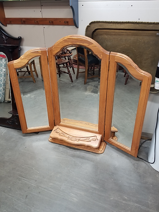 Oak Wood Trifold Dresser Mirror with Attached Jewelry Box