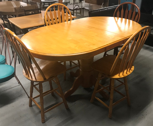 Golden Oak Pub Height Dining Table W Hidden Leaf 4 Chairs