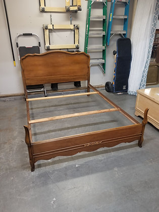 Full Size French Provincial Style Wood Bed Frame w/ Metal Side Rails