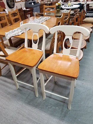 Matching Pair of Light Wood Counter Height Stools
