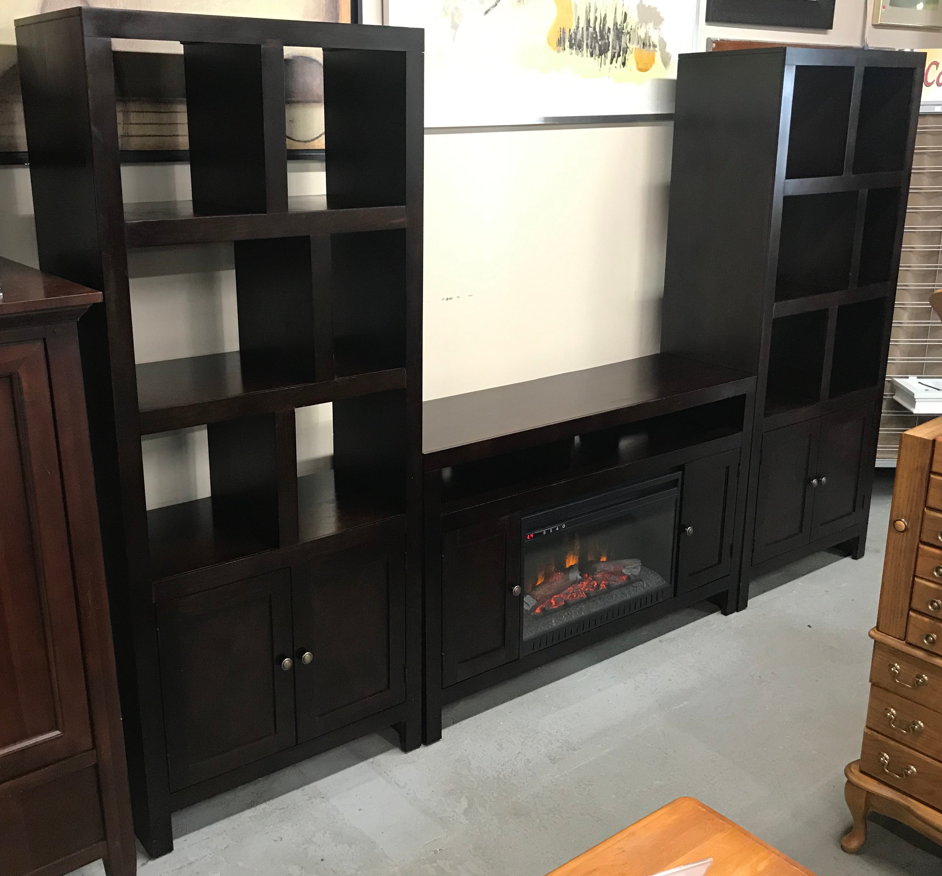 Three Piece Living Room Faux Fireplace W Matching Bookshelves