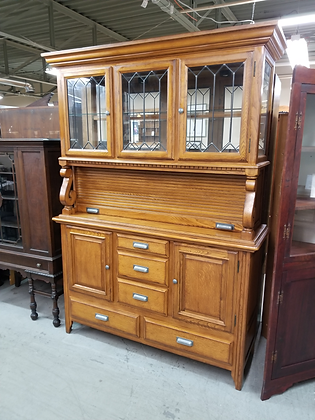 Large Lighted Oak Wood China Cabinet Hutch w/ 4 Doors & 5 Drawers