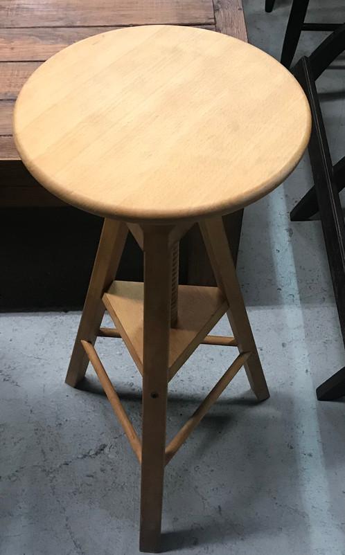 Light Wood Adjustable Artist Stool