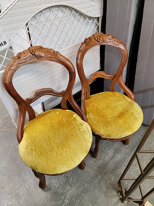 Pair Of Wood Accent Chairs w/ Yellow Gold Seats & Carved Design