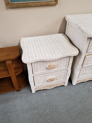 Pier 1 White Wicker Two Drawer End Table Nightstand