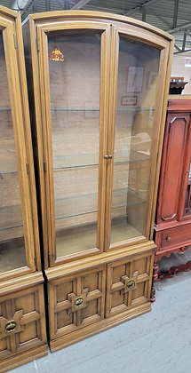 Tall Glass Front Wood Display China Cabinet w/ Glass Shelves (1 Of 2)