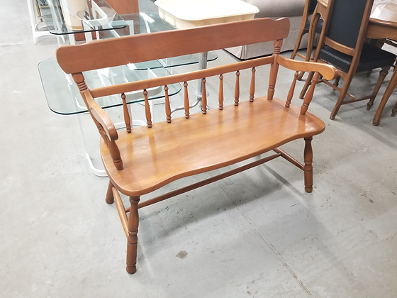 Solid Wood Spindle Back Bench with Arm Rests