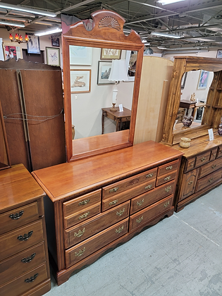Seven Drawer Wide Wood Dresser with Mirror by Broyhill