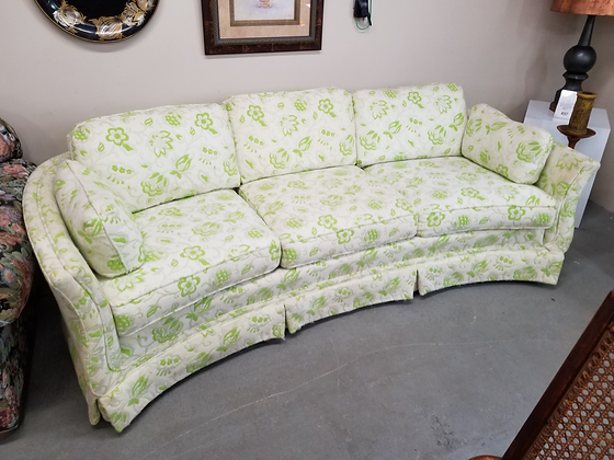 Light Floral Upholstered Curved Sofa Couch w/ Removable Cushions