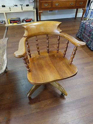 Stickley Curved Spindle Back Wood Office Chair on Wheels