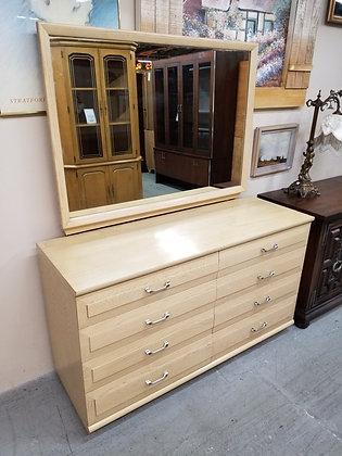 Eight Drawer Wide Blonde Wood Dresser w/ Matching Mirror