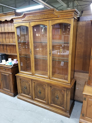Glass Front Lighted Wood China Cabinet w/ Glass Shelves