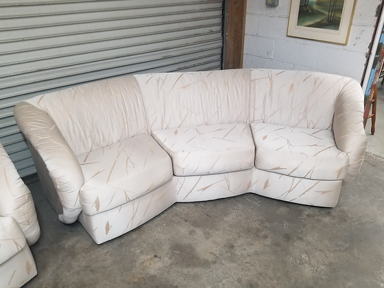 Curved White Upholstered Sofa Couch w/ Funky Design (1 Of 2)