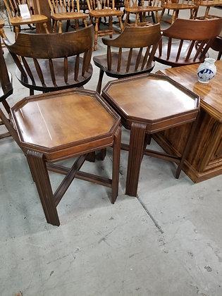 Matching Pair of Dark Wood Glass Top Accent Tables Stands