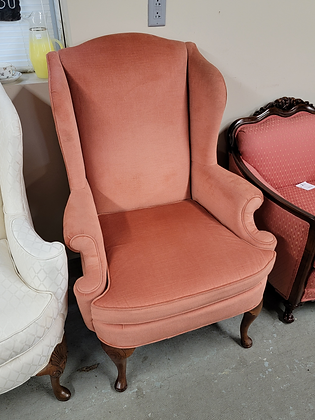Salmon Pink Upholstered Wingback Accent Chair