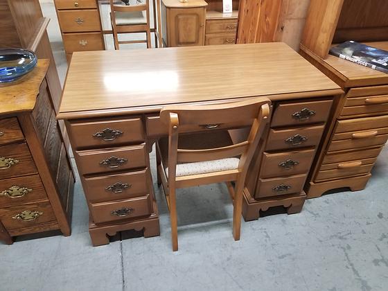 Seven Drawer Wood Kneehole Desk w/ Chair