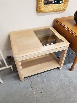 Two Tier Blonde Wood End Table Side Table w/ Half Glass Top