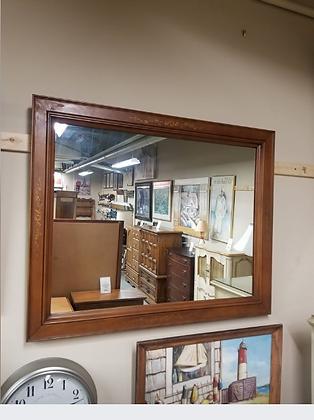 Rectangle Wall Mirror w/ Wood Frame & Leaf Designs #M83