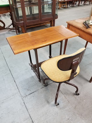 Small Drop Leaf Typewriter Table with Metal Base And Chair On Wheels