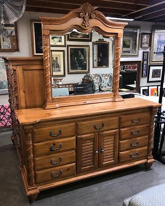 Nine Drawer Wide Pine Wood Dresser w/ Ornate Spiraled Accents & Mirror