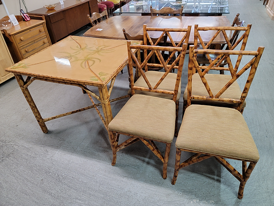 Square Bamboo Dining Table with Four Chairs