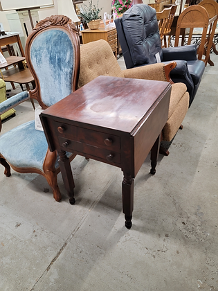 Two Drawer Early Drop Leaf Accent Table End Table