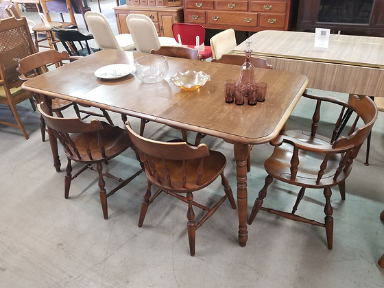 Rockingham Wood Dining Table with Six Chairs & Two Leaves