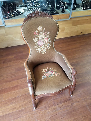 Antique Ornate Studded Wood Accent Chair w/ Floral Upholstery