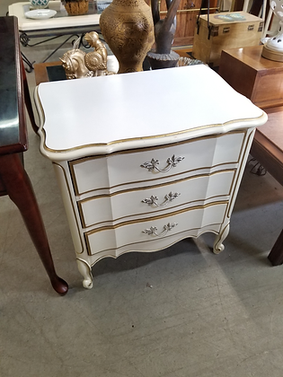 Dixie Three Drawer White French Provincial Wood End Table Nightstand