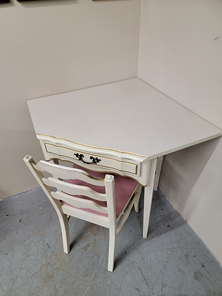 Single Drawer French Provincial Wood Corner Desk with Chair