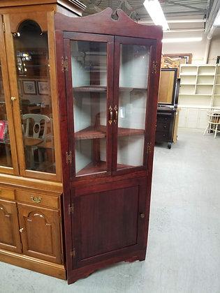 Antique Glass Front Dark Wood Corner Cabinet