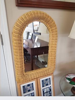 Light Wicker Frame Wall Mirror #M78