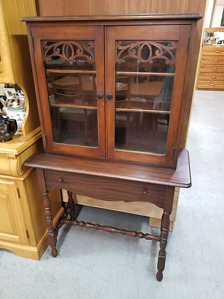 Glass Front Two Door Mahogany Wood China Cabinet w/ Single Drawer