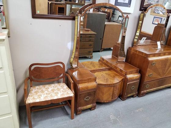 Two Drawer & Two Door Art Deco Wood Vanity w/ Large Mirror + Stool