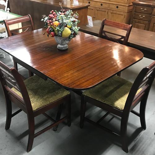 Drop Leaf Dark Wood Dining Table W Claw Feet 4 Chairs