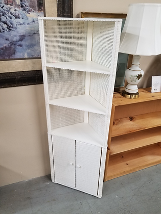 Two Door White Wood Corner Cabinet with Wicker Backing