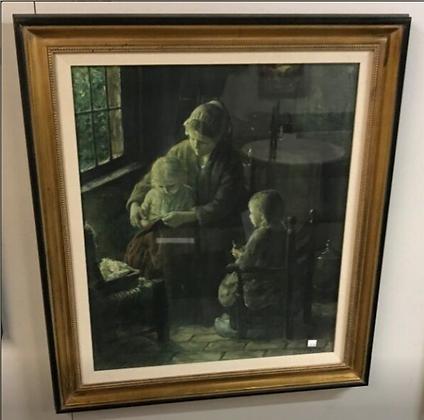 Woman & Children Sitting by Window Wall Art #A87