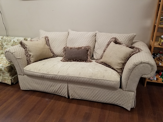 Beige / Tan Upholstered Large Sofa Couch w/ Throw Pillows