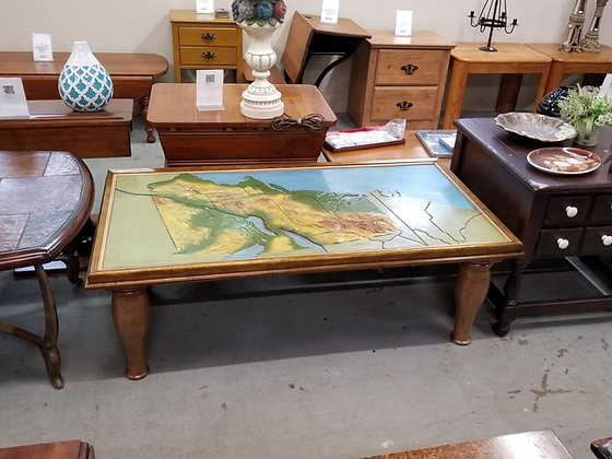 Custom Made Topographic Map Coffee Table