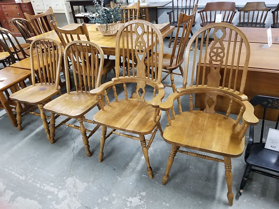 Set of Four Oak Wood Spindle Back Dining Chairs w/ Two Captains Chairs